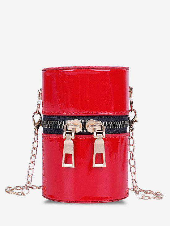 Cylinder Chain Micro Crossbody Bag - RED