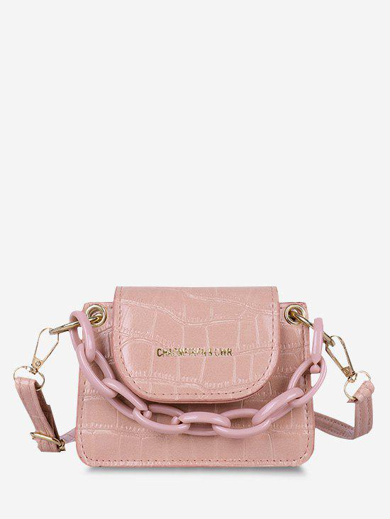 Boxy Embossed Mini Crossbody Bag - PINK
