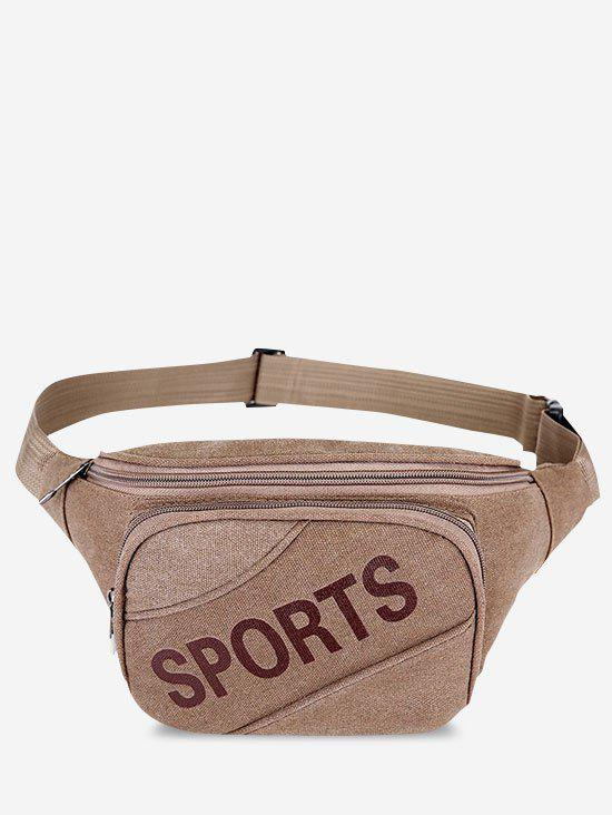 Letters Pattern Phone Canvas Waist Bag - COFFEE
