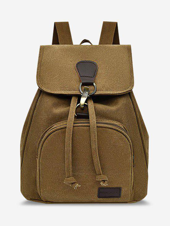 Canvas Drawstring Large Capacity Backpack - BROWN