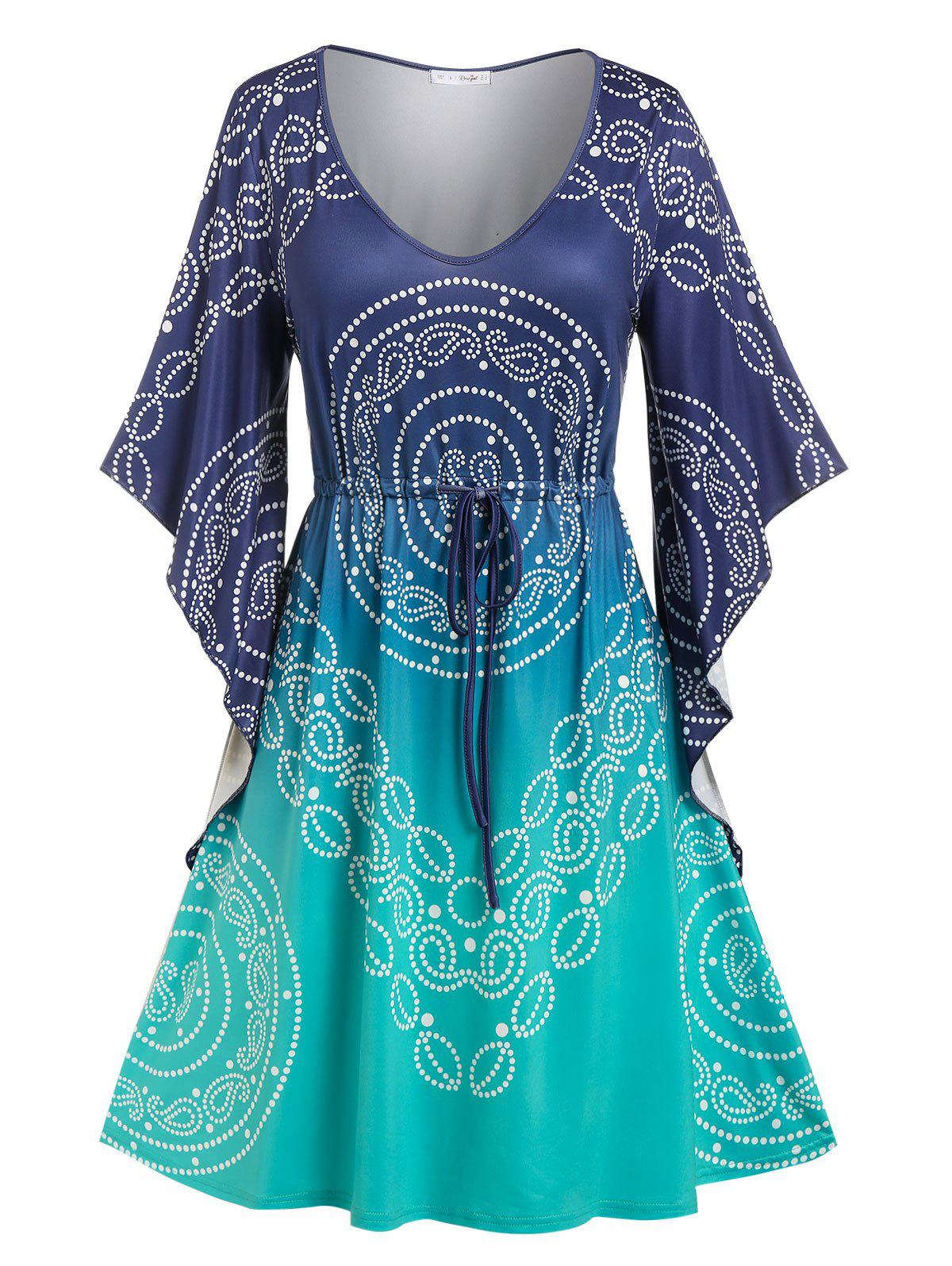 Plus Size Butterfly Sleeve Drawstring Knee Length Dress - multicolor L