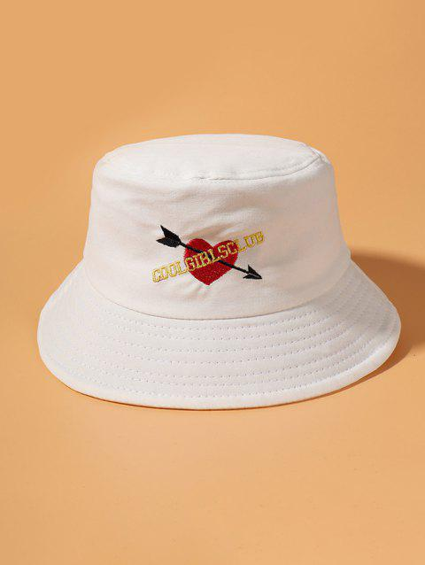Embroidered Graphic Arrow Heart Bucket Hat