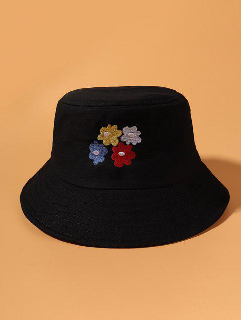 Colored Flowers Embroidered Bucket Hat