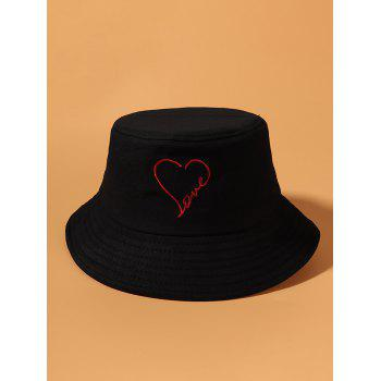 Heart Pattern Embroidered Bucket Hat