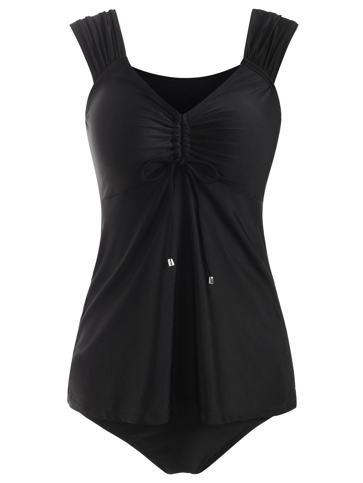 Cinched Tie Plunge Skirted Tankini Swimwear - BLACK 2XL