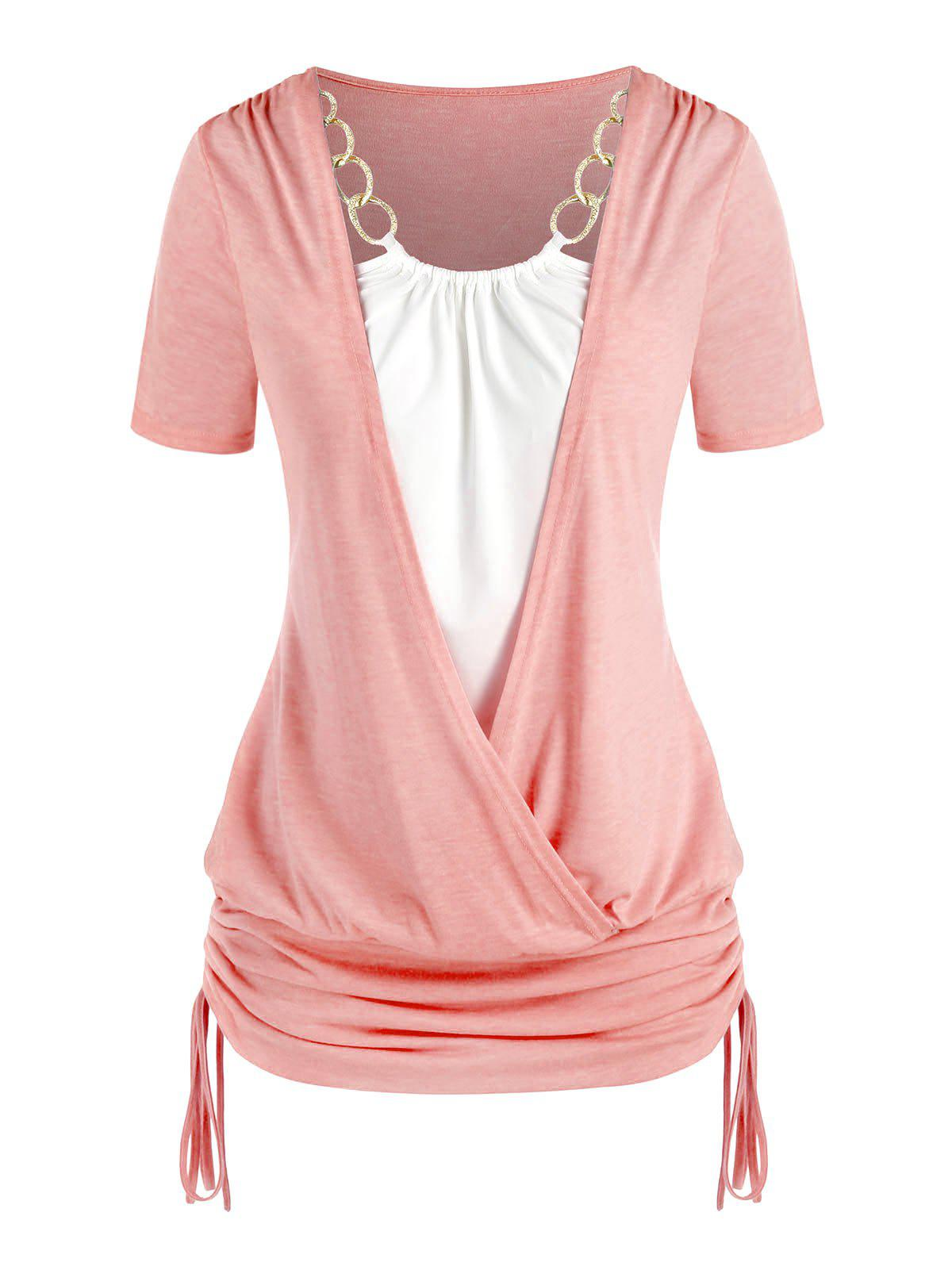 Plus Size Chains Surplice Cinched Tie Short Sleeve Tee - LIGHT PINK 2X