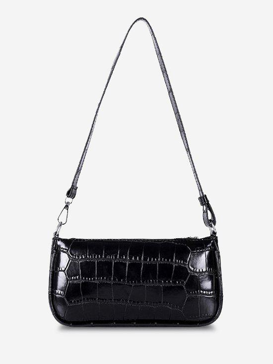 Classic Embossed Rectangle Shoulder Bag - BLACK