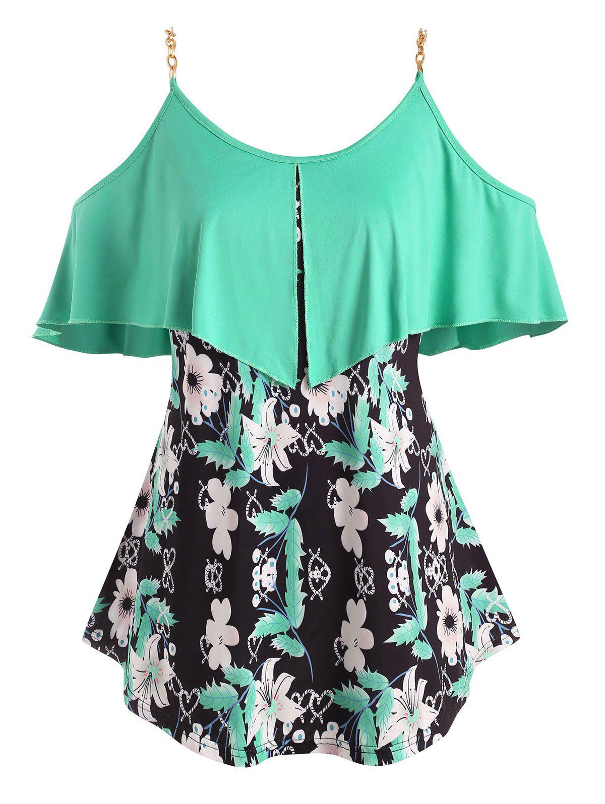 Foldover Metallic Ring Floral Open Shoulder Plus Size Top - GREEN 3X
