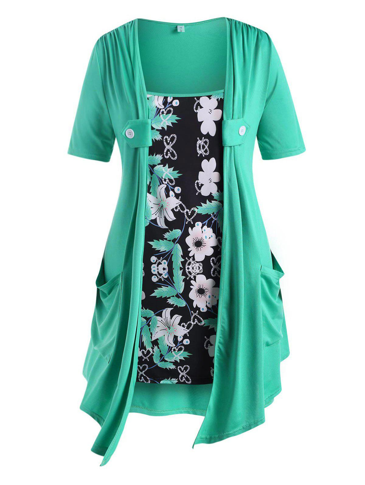 Floral Panel Dual Pocket Buttoned Plus Size Top - GREEN 4X