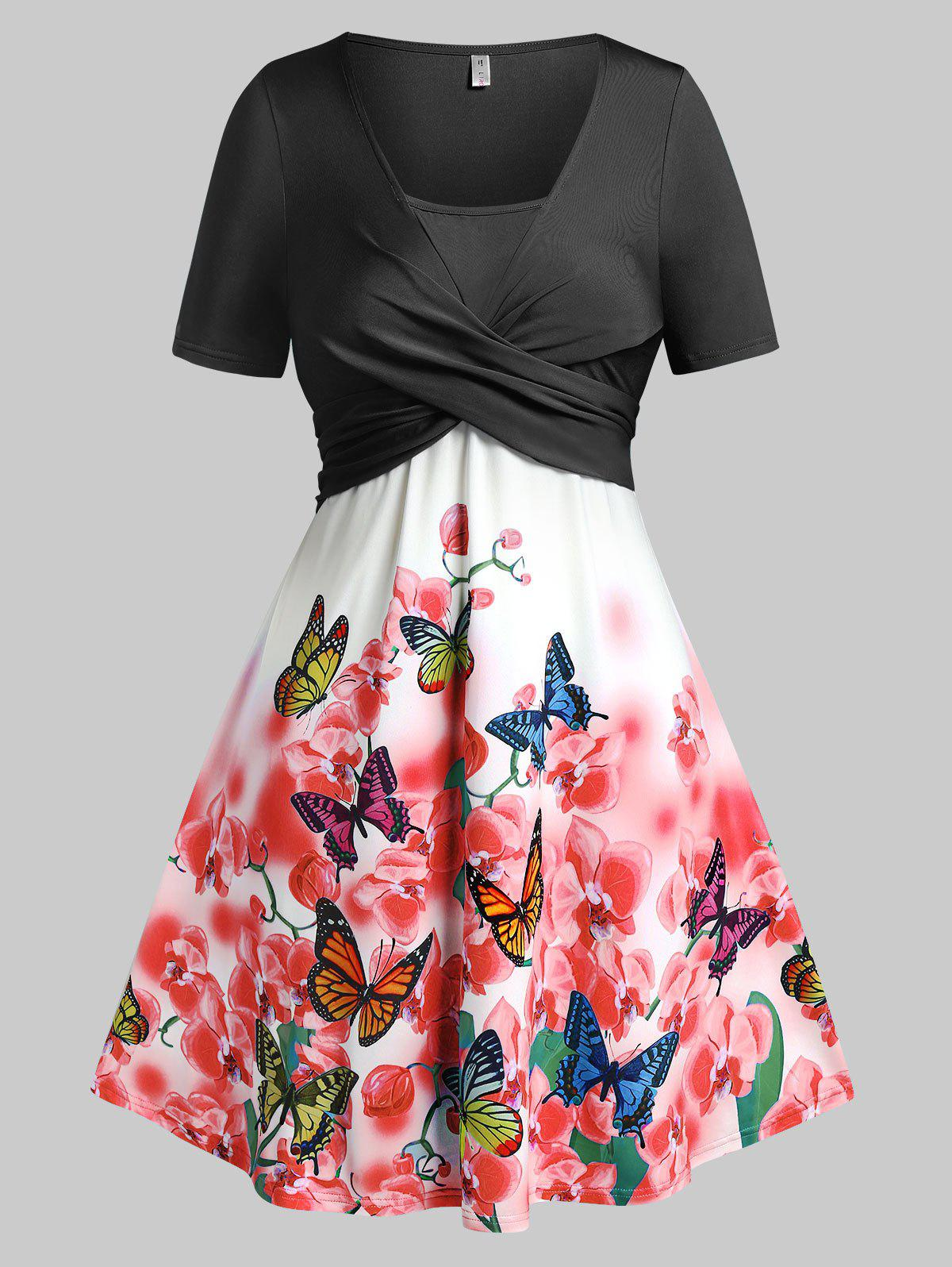 Plus Size Crossover Butterfly Floral Print Dress - BLACK 2X
