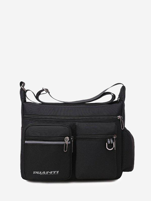 Letters Pockets Travel Waterproof Shoulder Bag - BLACK