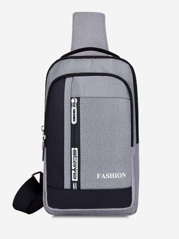 Multifunctional Letters Print Business Chest Bag - LIGHT GRAY