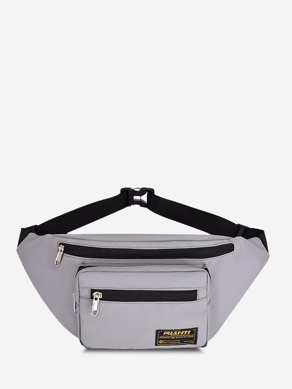 Casual Letter Label Outdoor Waist Bag - GRAY