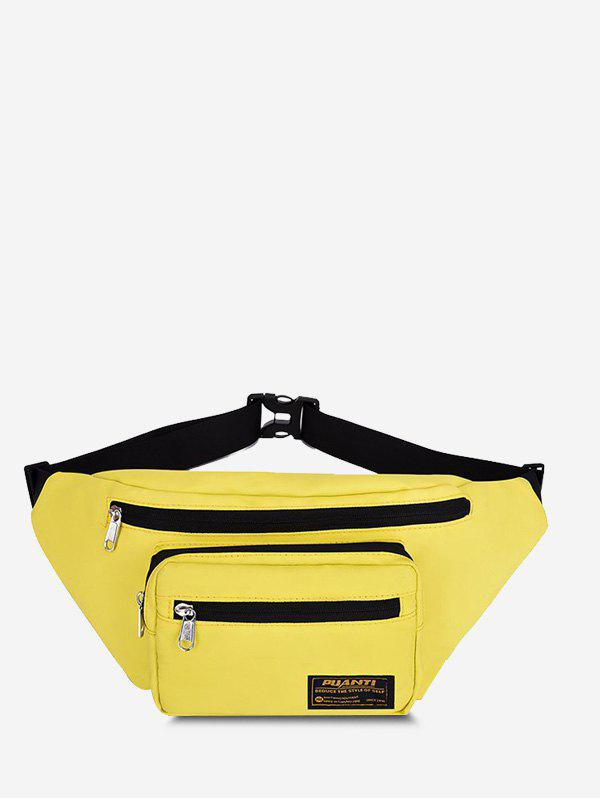 Casual Letter Label Outdoor Waist Bag - SUN YELLOW