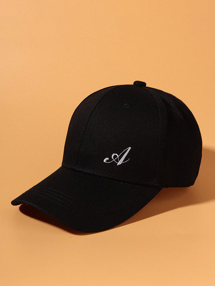 Brief Letter A Embroidery Baseball Cap - BLACK