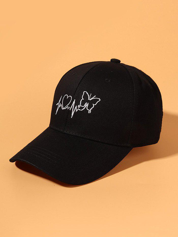 Embroidery Butterfly Heart ECG Baseball Cap - BLACK