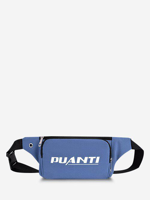 Casual Letter Printed Sports Chest Waist Bag - LIGHT BLUE