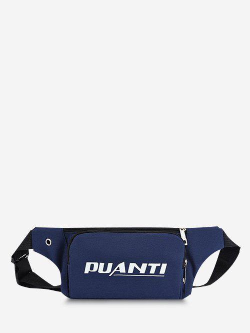 Casual Letter Printed Sports Chest Waist Bag - DEEP BLUE