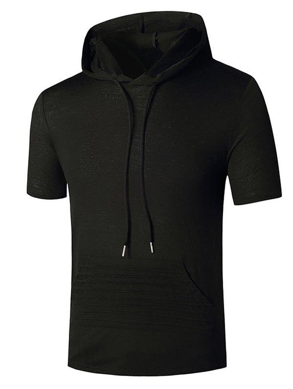 Hooded Stitching Detail Kangaroo Pocket T-shirt - BLACK M