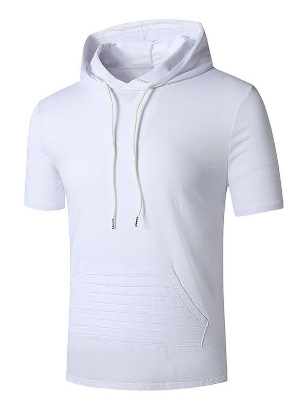 Hooded Stitching Detail Kangaroo Pocket T-shirt - WHITE XXL