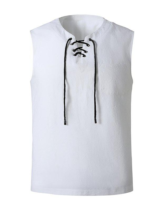 Lace-up Front Pocket Tank Top - WHITE XL