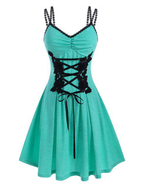 Flower Applique Lace Up Ruched Corset Style Dress