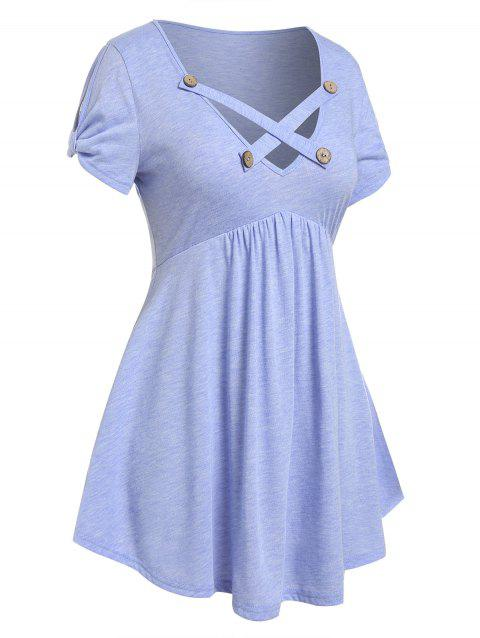 Plus Size Criss Cross Buttoned Skirted Tunic T-shirt