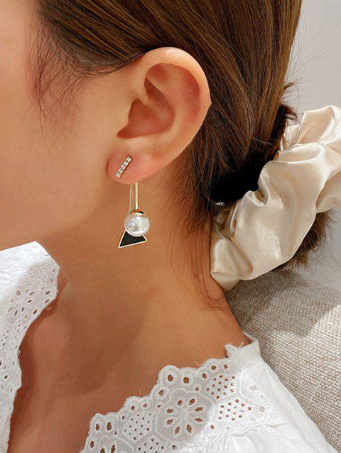 Faux Pearl Triangle Drop Earrings