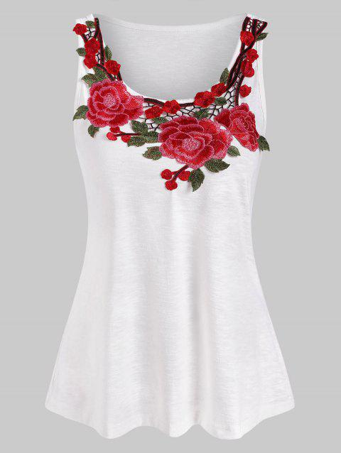 Flower Embroidered Casual Tank Top