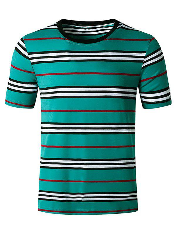 Striped Print Short Sleeves T Shirt - BLUE L
