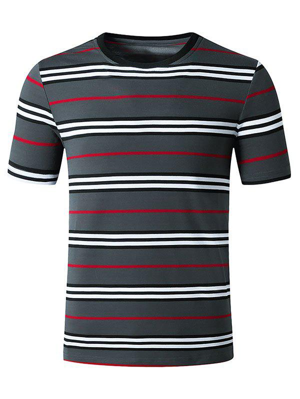 Striped Print Short Sleeves T Shirt - DARK GRAY XL
