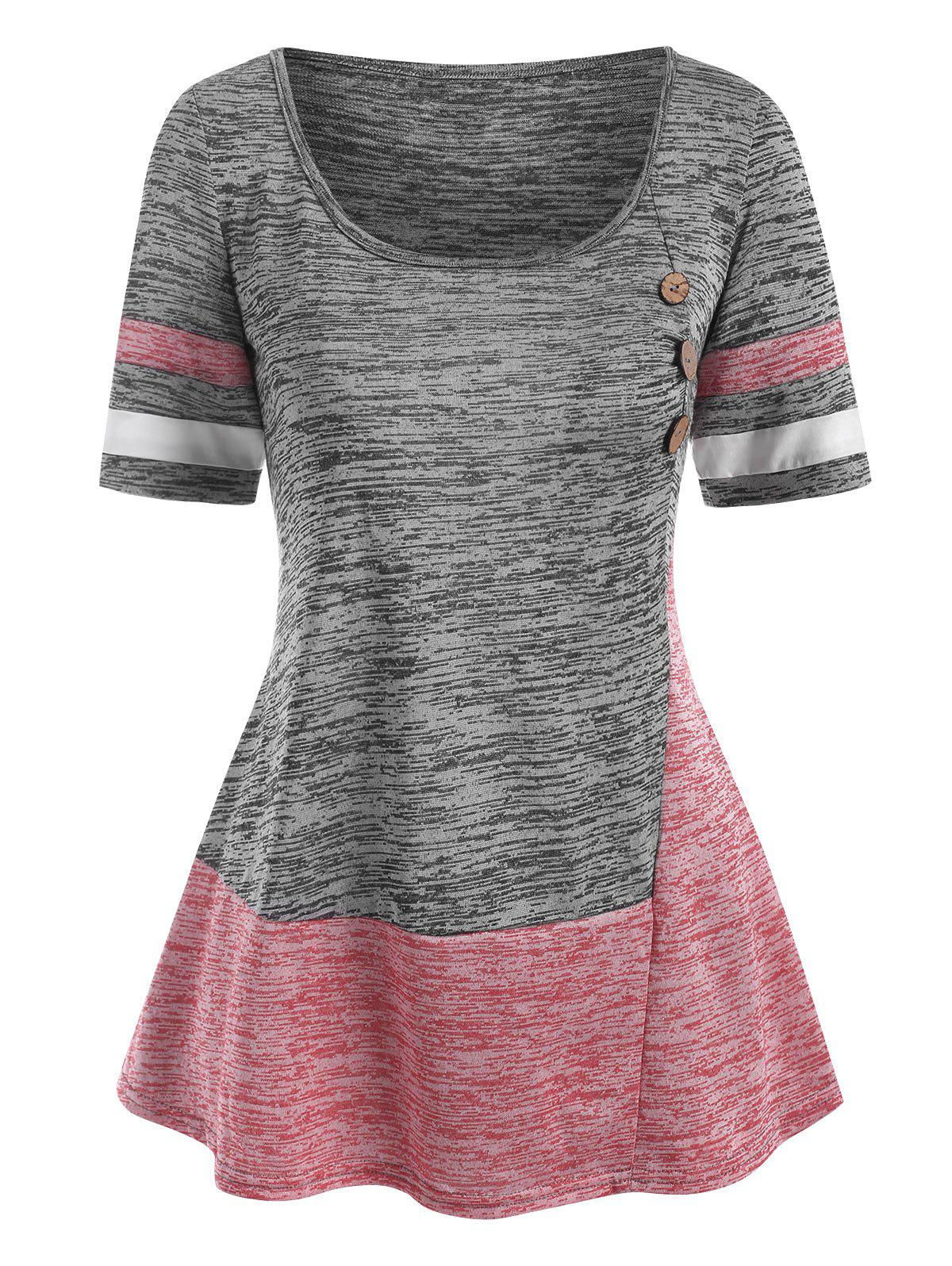 Mock Button Colorblock Striped T Shirt - GRAY M