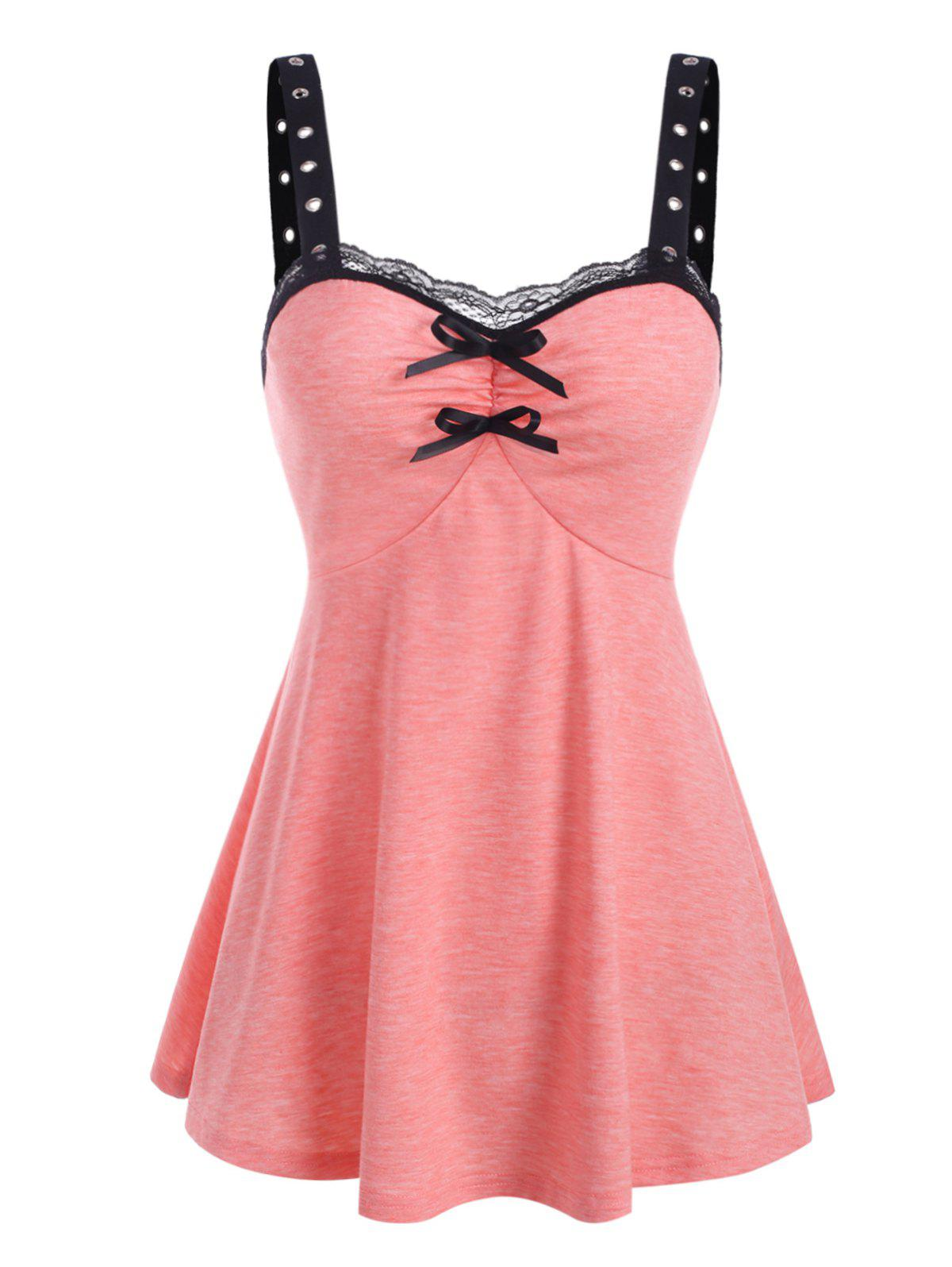 Lace Insert Grommet Bowknot Ruched Tank Top - LIGHT PINK XL