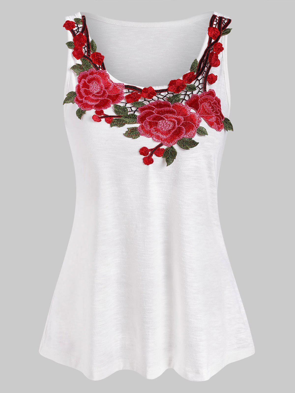 Flower Embroidered Casual Tank Top - WHITE XL