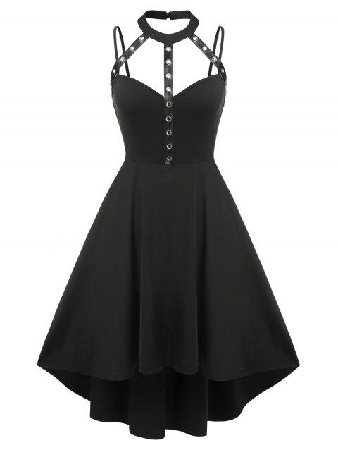 Plus Size Gothic Harness Cutout High Low Dress