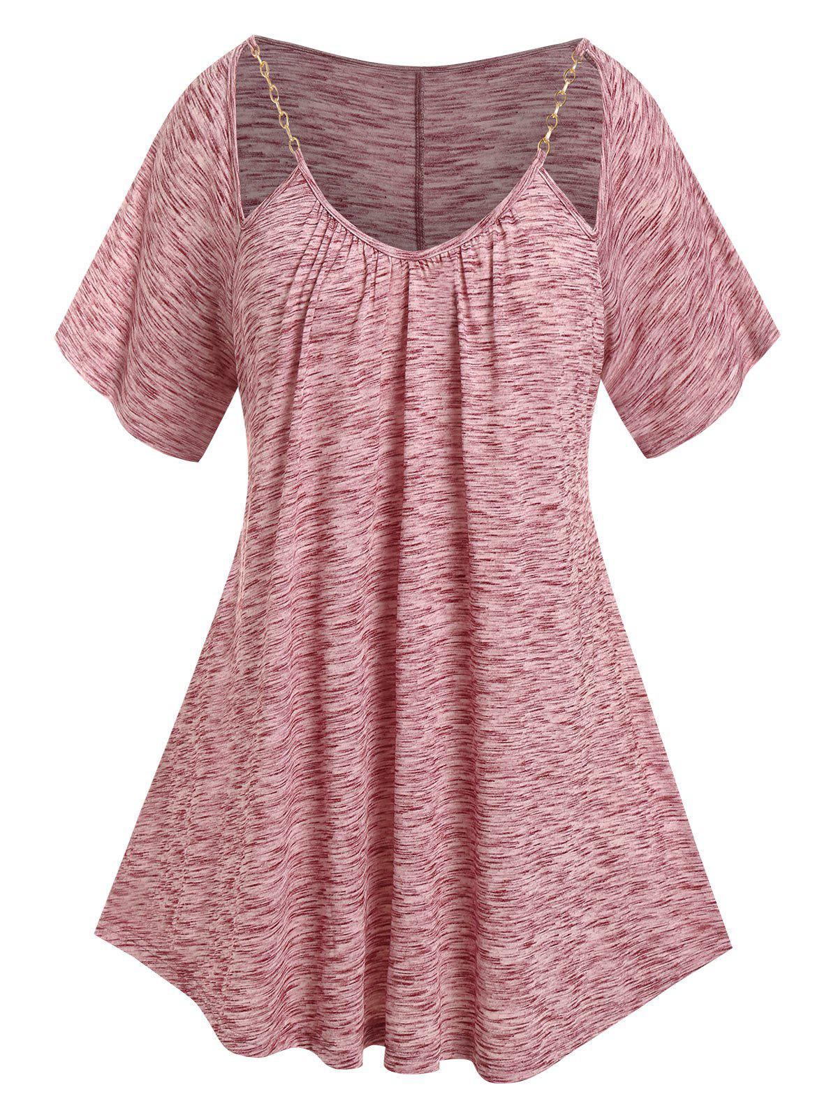 Plus Size Heathered Cut Out Chain T Shirt - DEEP RED 3X