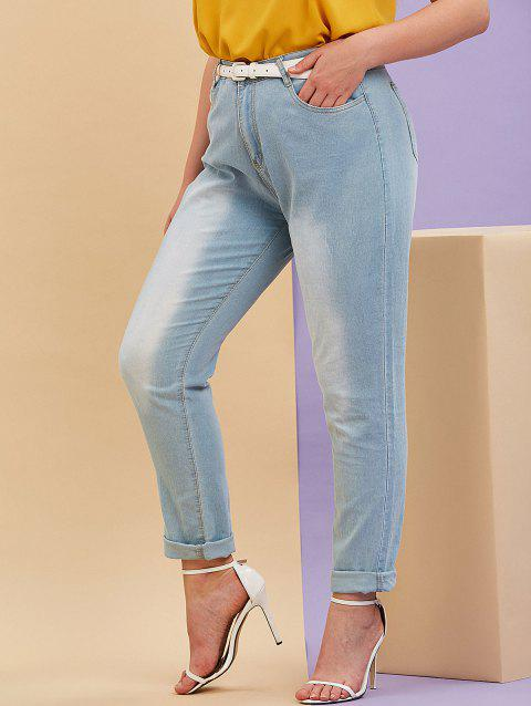Pockets Mid Rise Plus Size Tapered Jeans