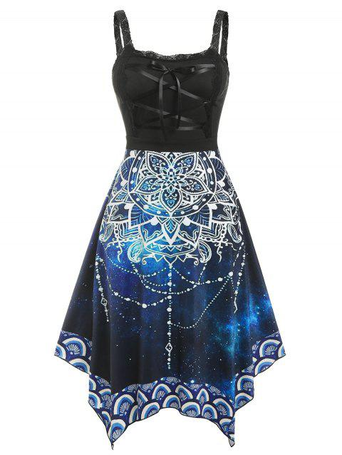 Plus Size Lace Up Floral Handkerchief Dress