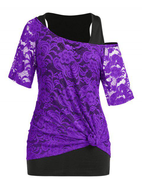 Plus Size Lace Sheer Knot T-shirt and Tank Top Set