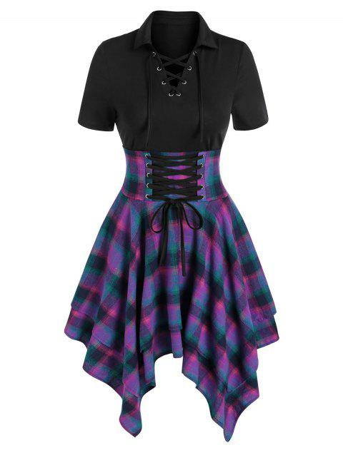 Plaid Print Lace-up Layered Handkerchief Dress