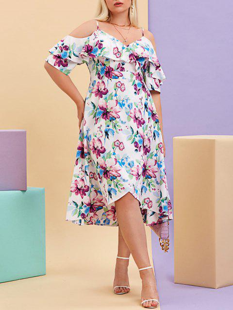 Plus Size Cold Shoulder Ruffled Floral Print Midi Dress