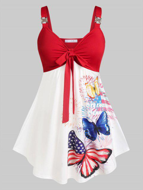 Plus Size Butterfly American Flag Knotted Skirted Tank Top