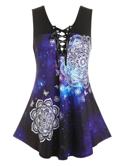 Plus Size Galaxy Butterfly Print Lace-up Tank Top