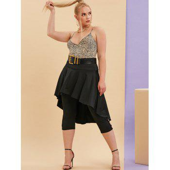 Plus Size Overlay Strappy Cutouts Cropped Leggings