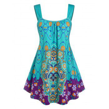 Plus Size Sleeveless Floral Print Swing Top
