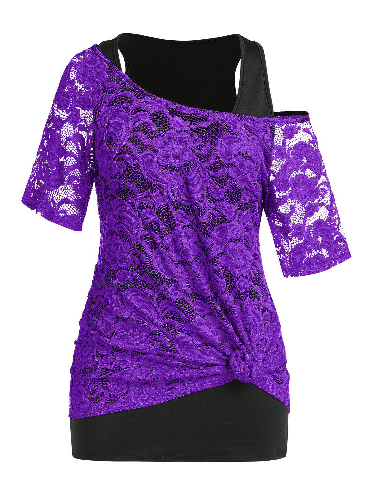 Plus Size Lace Sheer Knot T-shirt and Tank Top Set - PURPLE 2X