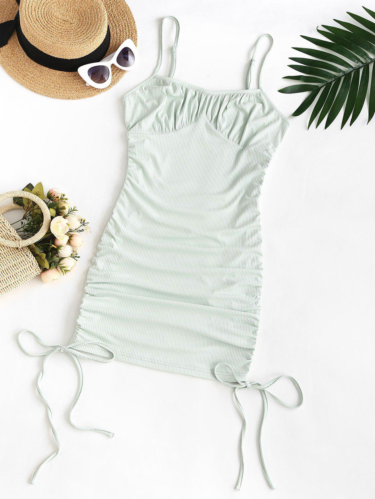 Plus Size Spaghetti Strap Ribbed Cinched Ruched Slinky Bodycon Dress - LIGHT GREEN L