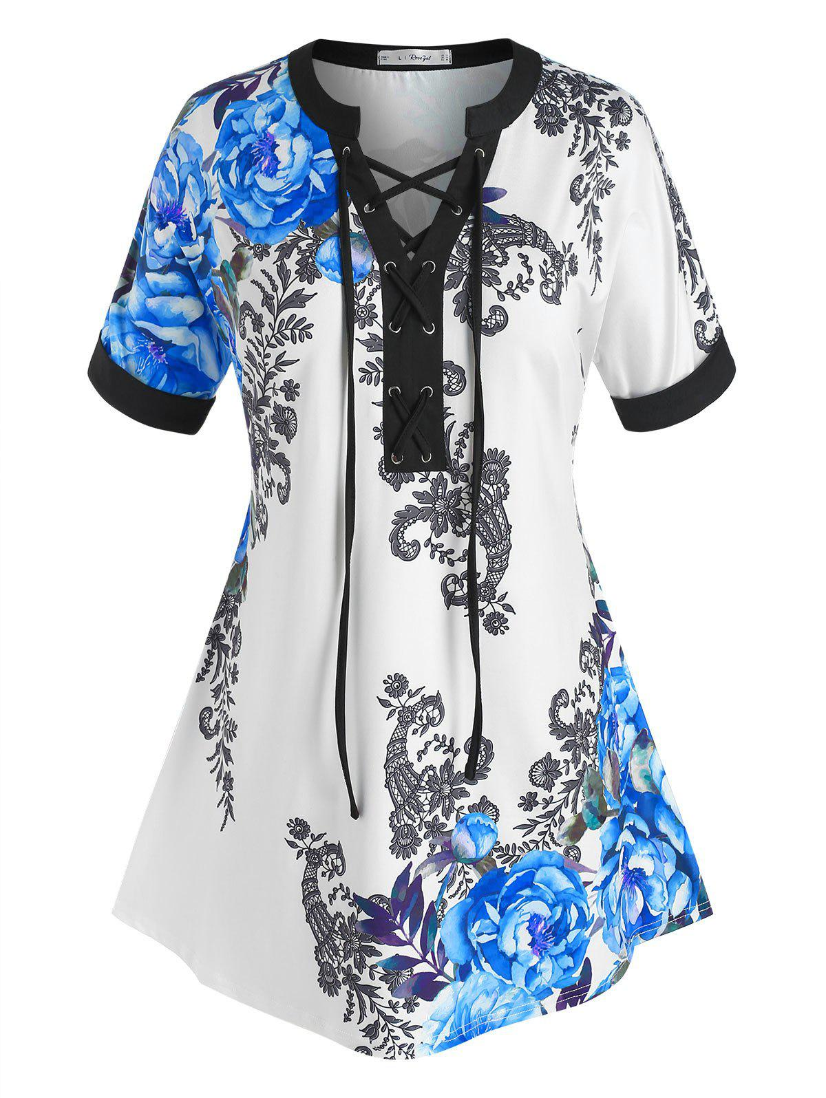 Plus Size Flower Print Lace-up Short Sleeve Tee - BLUE 3X