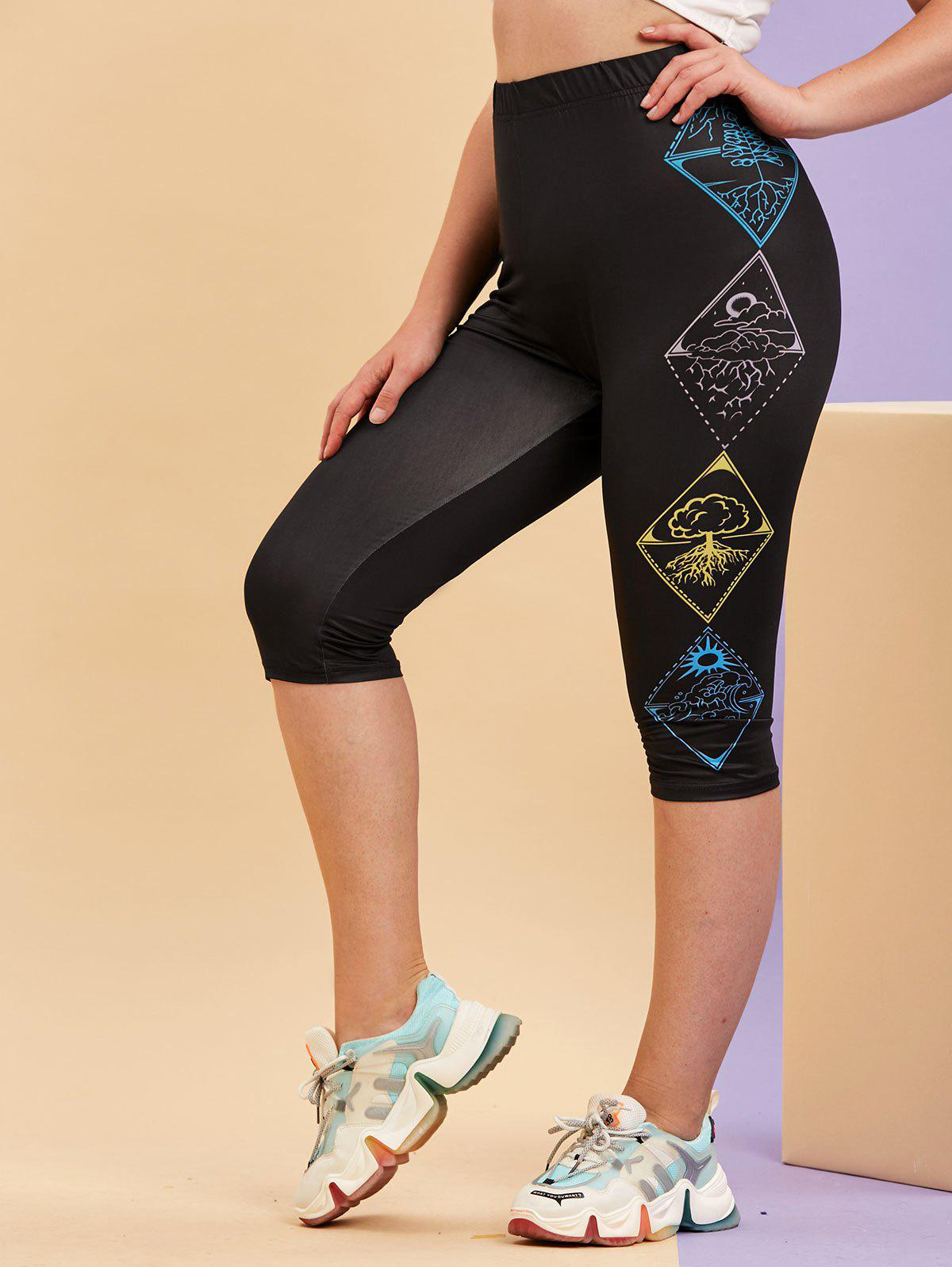 Plus Size Printed Side Cropped Stretchy Leggings - BLACK 5X