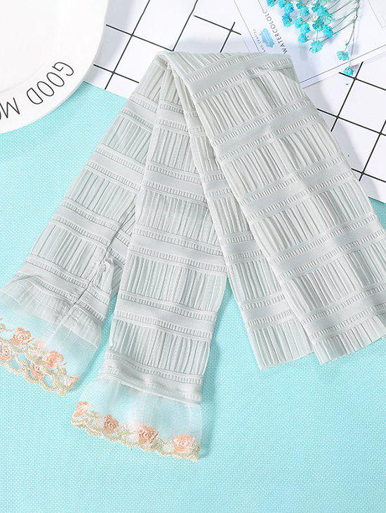 Outdoor Pleated Floral Lace Sunproof Arm Sleeves - CYAN OPAQUE